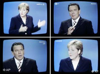 Gerhard Schröder and Angela Merkel on all channels