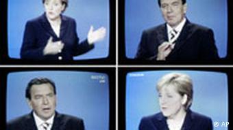 Dezbatere electorală televizată cu Angela Merkel şi contracandidatul social-democrat Gerhard Schröder