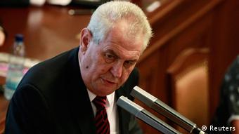 Czech President Milos Zeman speaks during the Czech parliament session in Prague, August 7, 2013. Zeman said on Wednesday he would not appoint a new prime minister for at least several weeks if the cabinet loses a parliamentary confidence vote as expected later on Wednesday. REUTERS/Petr Josek (CZECH REPUBLIC - Tags: POLITICS)