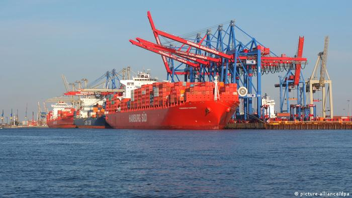 A ship at a German port