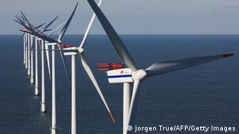 A photo showing a wind turbine at the Horns Reef wind farm in Denmark, some 20 kms (12 miles) off the port of Esbjerg. (Photo: Jorgen True/AFP/Getty Images)