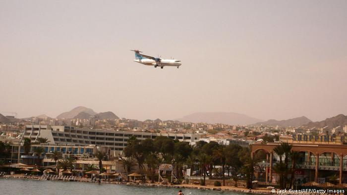 A picture taken on February 24, 2011 shows a Israir company plane preparing to land at the airport in the centre of the Israeli Red Sea resort of Eilat. AFP PHOTO/JACK GUEZ (Photo credit should read JACK GUEZ/AFP/Getty Images)
