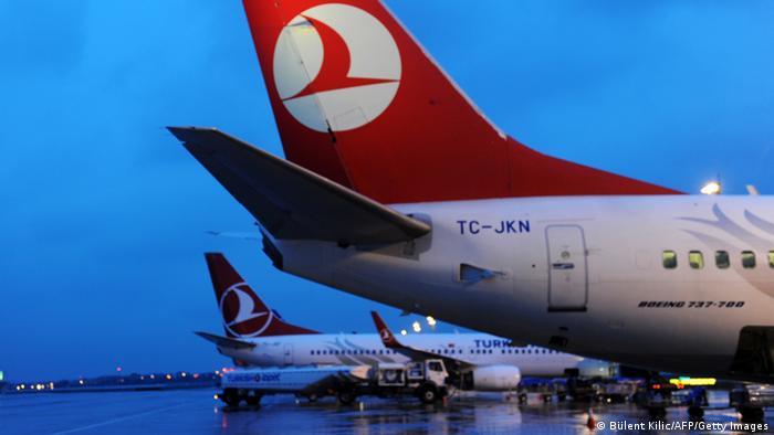 This picture taken on March 16, 2013 shows a Turkish Airlines aircraft parked at the Ataturk Airport in Istanbul. Turkish Airlines said on March 15 it would buy up to 117 planes from the European aircraft manufacturer Airbus, with deliveries scheduled between 2015 and 2020. AFP PHOTO/BULENT KILIC (Photo credit should read BULENT KILIC/AFP/Getty Images)