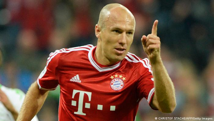 Bayern Munich's Dutch midfielder Arjen Robben celebrates after the first goal for Munich during the German first division Bundesliga football match FC Bayern Munich vs Borussia Moenchengladbach in Munich, southern Germany on August 9, 2013. (Photo via CHRISTOF STACHE/AFP/Getty Images)