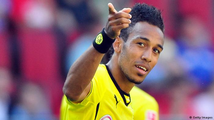 AUGSBURG, GERMANY - AUGUST 10: Pierre-Emerick Aubameyang of Dortmund celebrates his third goal during the Bundesliga match between FC Augsburg and Borussia Dortmund at SGL Arena on August 10, 2013 in Augsburg, Germany. (Photo by Lennart Preiss/Bongarts/Getty Images)