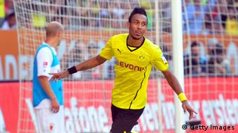 AUGSBURG, GERMANY - AUGUST 10: Pierre-Emerick Aubameyang of Dortmund celebrates his second goal during the Bundesliga match between FC Augsburg and Borussia Dortmund at SGL Arena on August 10, 2013 in Augsburg, Germany. (Photo by Lennart Preiss/Bongarts/Getty Images)