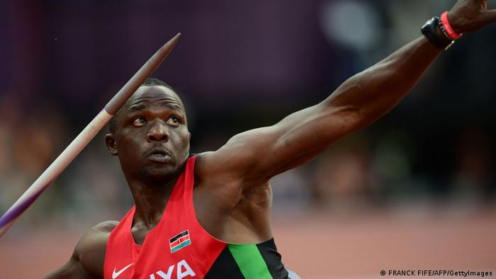 Kenya's Julius Yego competes in the men's javelin throw final at the athletics event of the London 2012 Olympic Games on August 11, 2012 in London. AFP PHOTO / FRANCK FIFE (Photo credit should read FRANCK FIFE/AFP/GettyImages)