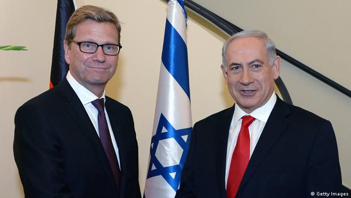 Prime Minister Benjamin Netanyahu (R) meets with German Foriegn Minister Guido Westerwelle at the prime minister's residence in Jerusalem on August 12, 2013 in Jerusalem, Israel.