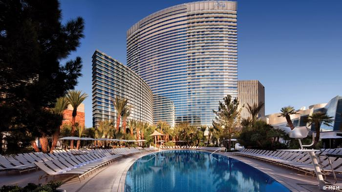 A Las Vegas hotel, with swimming pool in the foreground