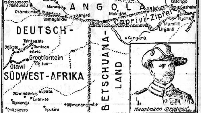 Caprivi-Zipfel auf einer historischen Karte (Quelle: Wikipedia / CC BY-SA-Metilsteiner)