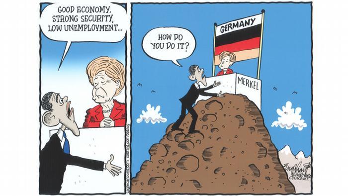 Обама лезет на вершину к Меркель, которая сидит там под флагом Германии за письменным столом