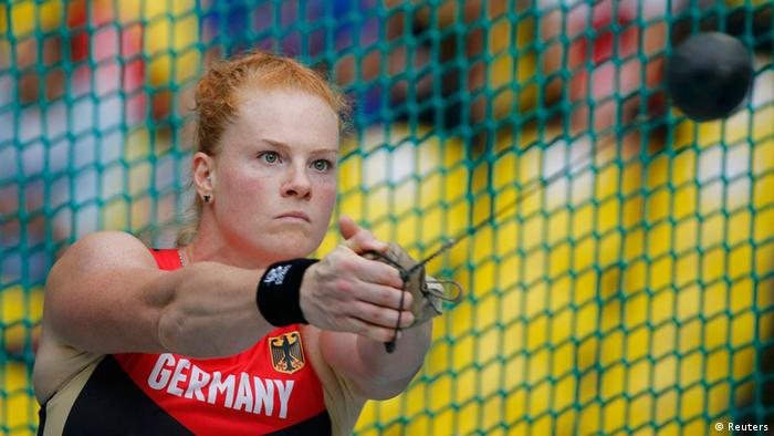 Betty Heidler of Germany competes in the women's hammer throw qualifying round during the IAAF World Athletics Championships at the Luzhniki stadium in Moscow August 14, 2013. REUTERS/Dominic Ebenbichler (RUSSIA - Tags: SPORT ATHLETICS)