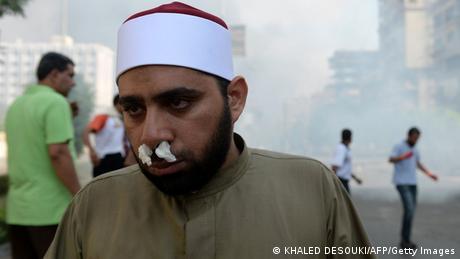 Verletzter Demonstrant in einem Kairoer Protestcamp (Foto: KHALED DESOUKI/AFP/Getty Images)