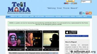 Screenshot of the Tell Mama website