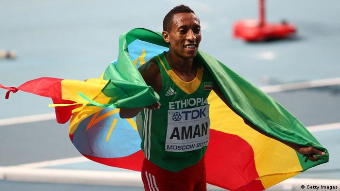 MOSCOW, RUSSIA - AUGUST 13: Mohammed Aman of Ethiopia celebrates winning gold in the Men's 800 metres final during Day Four of the 14th IAAF World Athletics Championships Moscow 2013 at Luzhniki Stadium on August 13, 2013 in Moscow, Russia. (Photo by Cameron Spencer/Getty Images)