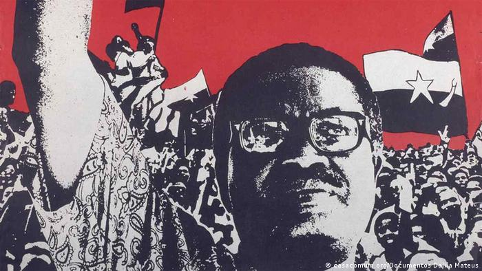 A poster shows Antonio Agostinho Neto, who led the MPLA in Angola