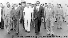 Encontro dos presidentes dos PALOP depois das independências - da esquerda à direita: Samora Machel (Moçambique), Aristides Pereira (Cabo Verde), Agostinho Neto (Angola), Manuel Pinto da Costa (São Tomé e Príncipe) e Luís Cabral (Guiné-Bissau)