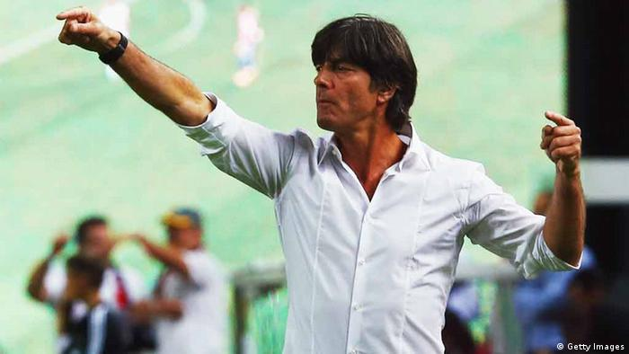 KAISERSLAUTERN, GERMANY - AUGUST 14: Head coach Joachim Loew of Germany gestures during the international friendly match between Germany and Paraguay at Fritz-Walter-Stadium on August 14, 2013 in Kaiserslautern, Germany. (Photo by Alex Grimm/Bongarts/Getty Images)