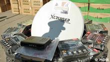 Titel: Satteliten Bildbeschreibung: iranische Polizei zerschlägt Schmuggelrring für Sattelitenanlage. Mit diesen Anlage können Iraner ausländische Sender empfangen. Quelle: MEHR Lizenz: Frei