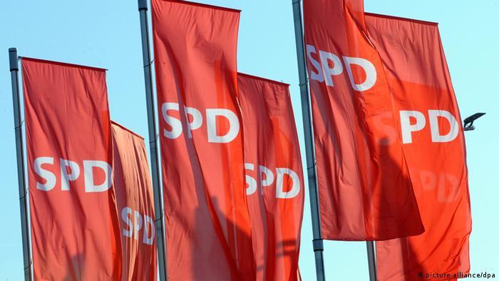 SPD flags. Photo: Patrick Seeger dpa/lsw +++(c) dpa - Bildfunk+++ pixel
