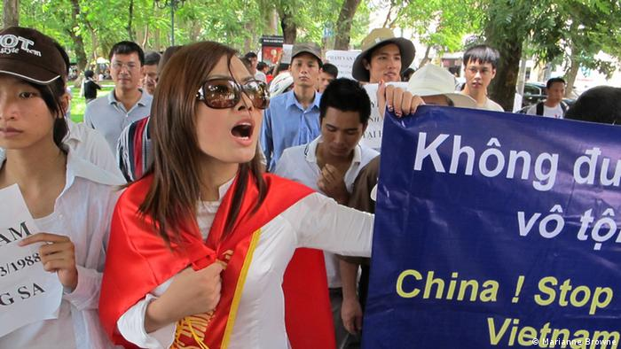 Trinh Kim Tien at a protest in Vietnam (Photo: Marianne Browne)