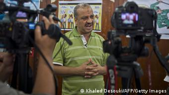 A picture taken August 4, 2013 shows Egypt's Muslim Brotherhood member Mohammed Beltagi talking with foreign media during an interview at the Rabaa al-Adawiya mosque in Cairo. AFP PHOTO / KHALED DESOUKI (Photo credit should read KHALED DESOUKI/AFP/Getty Images)