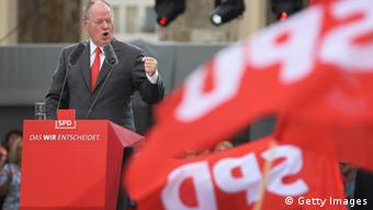 German Social Democrats (SPD) chancellor candidate Peer Steinbrueck speaks to supporters at the Deutschland Fest marking the 150th anniversary of the SPD on August 17, 2013 in Berlin, Germany. (Photo by Sean Gallup/Getty Images)