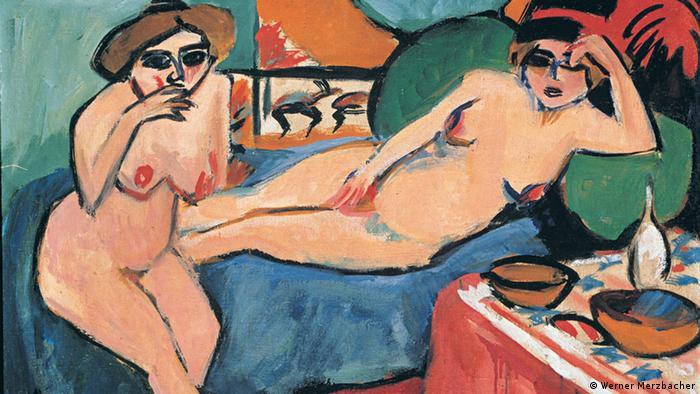 Ернст Людвіґ Кірхнер Дві оголені на синій софі (1910-20)