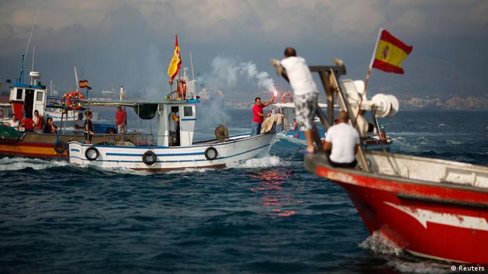 Spanien Protest von Fischern in Gibraltar