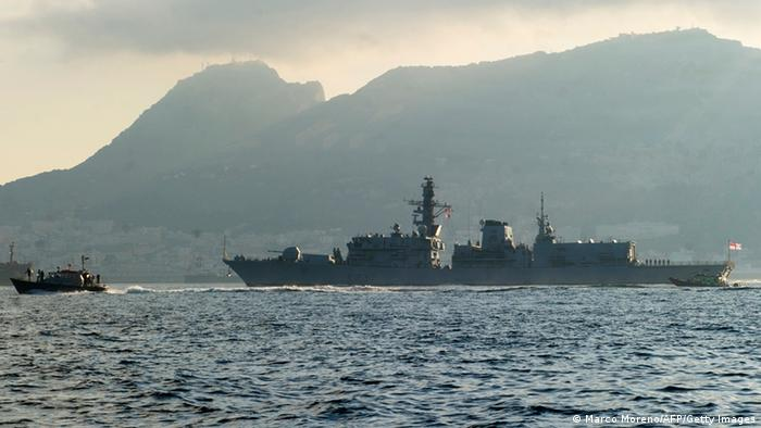A picture taken on August 19, 2013 shows British frigate HMS Westminster arriving in Gibraltar. British frigate HMS Westminster docked in Gibraltar today in a naval exercise coinciding with a furious diplomatic row with Spain over sovereignty and fishing rights in the surrounding waters. AFP PHOTO / MARCOS MORENO (Photo credit should read MARCOS MORENO/AFP/Getty Images)