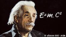 EINSTEIN, Albert (1879-1955). German physicist and mathematician, Nobel Prize in 1921. Portrait of Einstein with his formula of the energy. Oil on canvas. ullstein bild - AISA