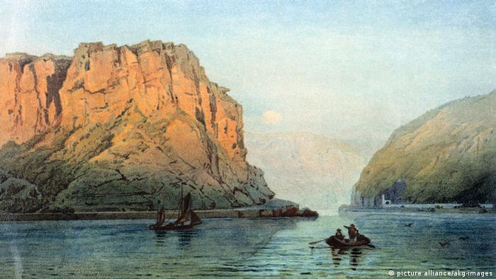 Скала Лорелей на акварели 1873 года