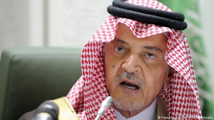 Saudi Foreign Minister Prince Saud bin al-Faisal speaks as Austrian Foreign Minister Michael Spindelegger (unseen) listens on, during a joint press confrence after the end of their meeing in Riyadh, on February 12, 2013. AFP PHOTO/FAYEZ NURELDINE (Photo credit should read FAYEZ NURELDINE/AFP/Getty Images)