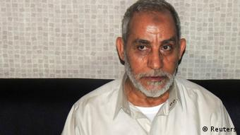 Muslim Brotherhood leader Mohammed Badie sits at a police station after security forces arrested him in Cairo in this handout picture dated August 20, 2013. (Photo: REUTERS/The Egyptian Interior Ministry)