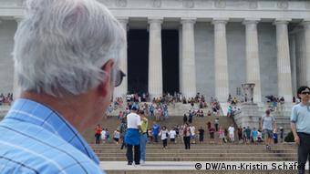 Civil rights activist Bob Tiller overlooks the Lincoln memorial in Washington D.C., where Martin Luther King Jr. gave his I have a dream speech in 1963