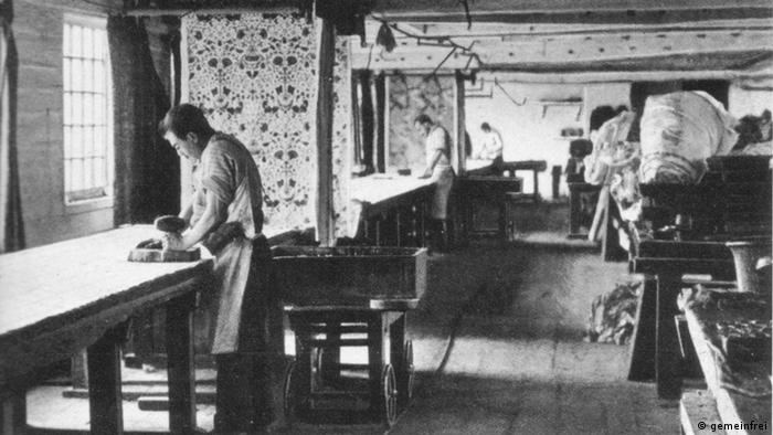 Textile printing at Merton Abbey, London in 1890.