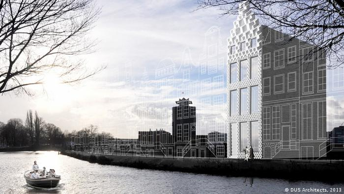 A sketch of the proposed canal house to be built along a canal in North Amsterdam (Image/ Copyright: DUS Architects)