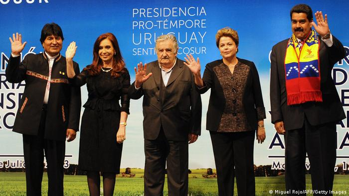 The heads of state of Mercosur's five members pose for a photo-op