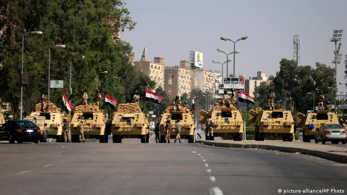 Egyptian soldiers secure the area around Nasser City in Cairo, Egypt, Thursday, July 4, 2013.