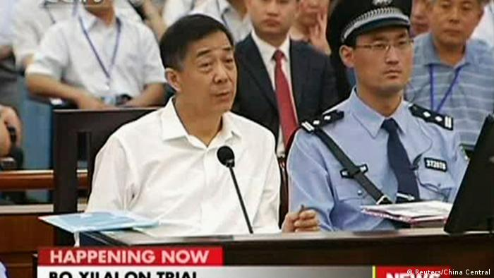 Disgraced Chinese politician Bo Xilai speaks during a court hearing in Jinan, Shandong province August 22, 2013 in this still image taken from video. Bo denied one of the bribery charges against him on Thursday as he appeared in public for the first time in more than a year to face China's most political trial in over three decades. REUTERS/China Central Television (CCTV) via Reuters TV (CHINA - Tags: POLITICS CRIME LAW) ATTENTION EDITORS - THIS IMAGE WAS PROVIDED BY A THIRD PARTY. FOR EDITORIAL USE ONLY. NOT FOR SALE FOR MARKETING OR ADVERTISING CAMPAIGNS. THIS PICTURE IS DISTRIBUTED EXACTLY AS RECEIVED BY REUTERS, AS A SERVICE TO CLIENTS. NO SALES. NO ARCHIVES. CHINA OUT. NO COMMERCIAL OR EDITORIAL SALES IN CHINA