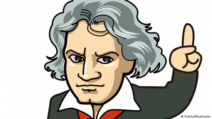 A cartoon of Beethoven's bust © freehandz