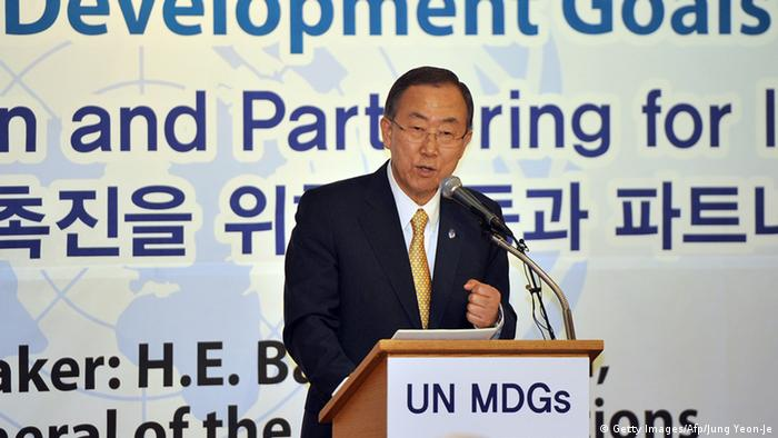 Secretary General of the United Nations Ban Ki-Moon speaks at a breakfast meeting hosted by Diplomatic Corps in South Korea in Seoul on August 23, 2013. Any chemical weapons attack in Syria would constitute a crime against humanity, UN chief Ban Ki-moon said on Autust 23, adding there was no time to lose in investigating their alleged use near Damascus. AFP PHOTO / JUNG YEON-JE (Photo credit should read JUNG YEON-JE/AFP/Getty Images)