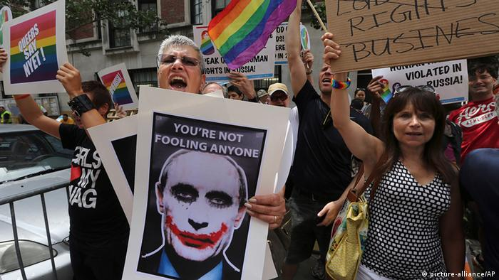 A demonstration in New York against gay discrimination in Russia