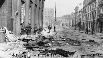 Warsaw Uprising: Germans on Focha Street (now called Molier Street) attacking Town Hall and Blank Palace.