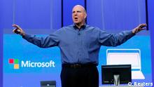 Microsoft CEO Steve Ballmer gestures during his keynote address at the Microsoft Build conference in San Francisco, California in this file photo from June 26, 2013. Microsoft Corp said August 23, 2013 that Ballmer will retire within the next 12 months, once it completes the process of choosing his successor. REUTERS/Robert Galbraith/Files (UNITED STATES - Tags: SCIENCE TECHNOLOGY BUSINESS)