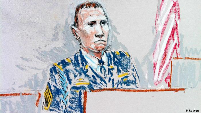 Courtroom sketch shows Army Staff Sergeant Robert Bales on the stand, saying he thinks about his victims and their families every time I look at my kids during a hearing in Tacoma, Washington, August 22, 2013. A decorated U.S. soldier who gunned down 16 unarmed Afghan civilians in a nighttime rampage apologized on Thursday at a sentencing hearing to determine his fate, calling the killings an act of cowardice. REUTERS/Peter Millet (UNITED STATES - Tags: CRIME LAW MILITARY) NO SALES. NO ARCHIVES. FOR EDITORIAL USE ONLY. NOT FOR SALE FOR MARKETING OR ADVERTISING CAMPAIGNS