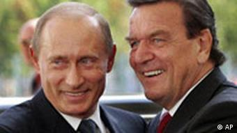 Russian Prime Minister Putin with fomer German Chancellor Schroeder