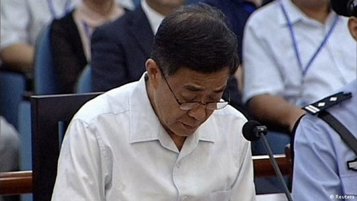 Ousted Chinese politician Bo Xilai sits in court on the third day of his trial in Jinan, Shandong Province, in this still image taken from video shot on August 24, 2013. (Photo: Reuters)