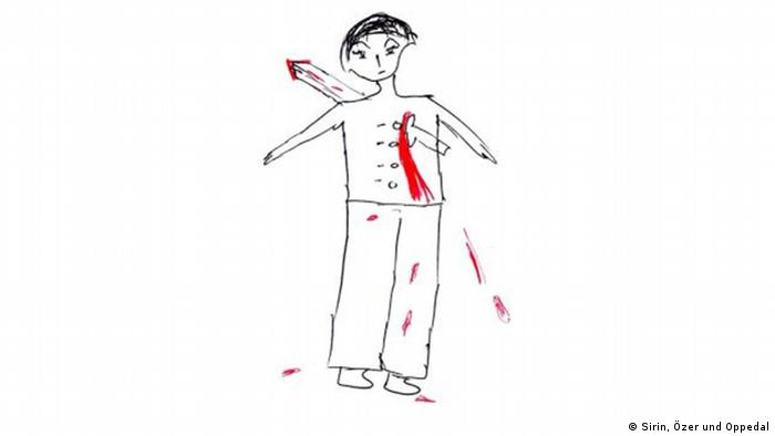 In a black-and-white children's drawing, red blood shoots from the chest of a man who's been run through by a sword