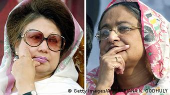In this combination of pictures created on December 23, 2008, Bangladesh's last prime minister Khaleda Zia (L) and last opposition leader Sheikh Hasina Wajed (R) gesture during their respective political rallies in Dhaka on December 21, 2005 and February 5, 2006.(Photo: AFP)